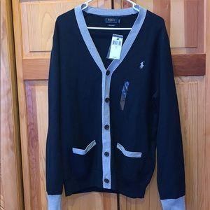 NWT Large Polo Ralph Lauren navy cardigan sweater